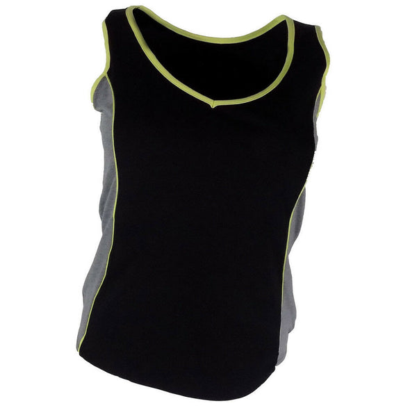 Ladies Black Sports Vest Top size 10-20 stretchy cotton cool running gym wear