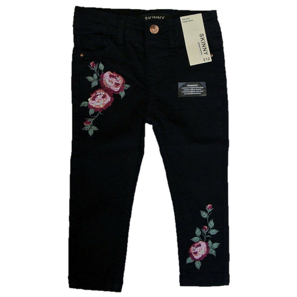 Girls Toddler Black Denim Jeans Adjustable waist embrodiery 2-6 yrs flowers rose