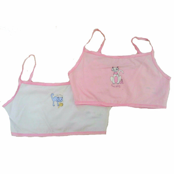 "Girls 2 pack Crop Tops Vest set pink white cat cute kitty 7/8 9/10 11/12 32"" 34"""
