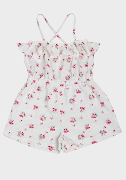 Girls Floral Pink Roses Summer Cotton Playsuit age 1-3 yrs holiday 100% cotton
