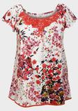 Ladies Flower Floral Top With Crochet Detail 12/14 100% cotton