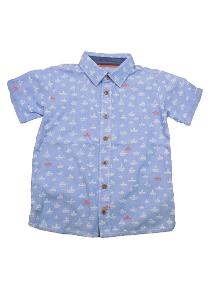 Baby Boy Boats Ships Blue Smart Shirt Top age 0-24m 0-2 years 100% cotton