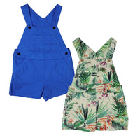 Boy Girl 100% cotton Short Blue or Patterned Dungarees 3-24 months 2-6 years
