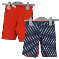 Girls 2 Pack of Cycling Shorts Leggings Red Blue Polka Dot age 3-13 yrs summer