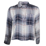 Ladies Checked Shirt cropped front black white blush 12 14 16 18 20