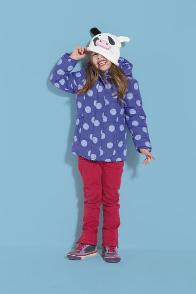 Girls Blue Spot Coat Jacket age 2/3 with hood padded