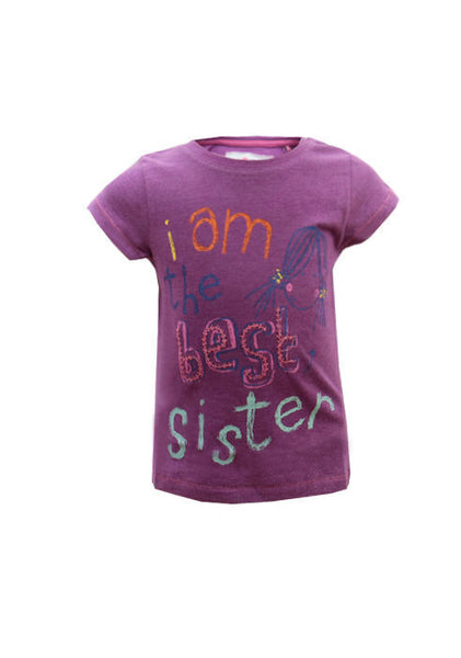 Girls Baby Toddler Ex Next 'I am the best sister' tshirt top 12/18 18/24m 1-2 yr