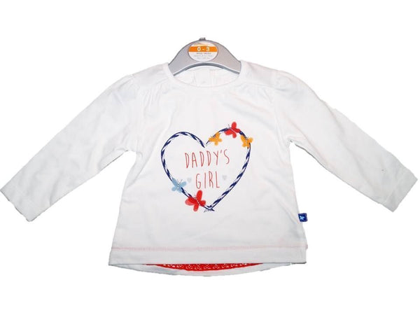 Baby Daddy's Girl T-shirt Top Long Sleeves 0/3 3/6 6/9 9/12 months 100% cotton