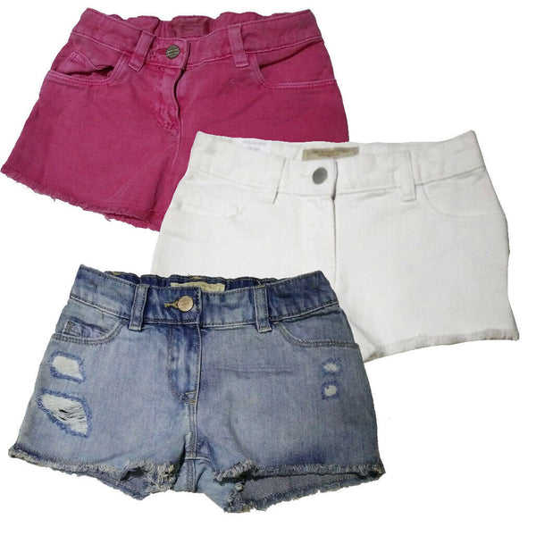 Girls Denim Shorts Adjustable Waist Distressed Pink White age 3 - 11 years