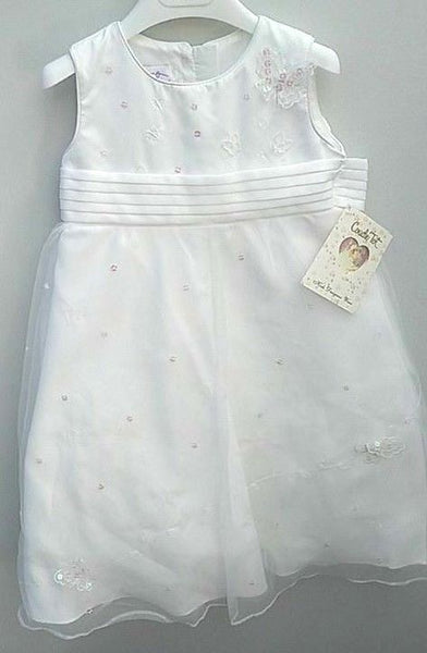 Girls white ivory christening wedding bridesmaid flower girl butterfly age 3/4