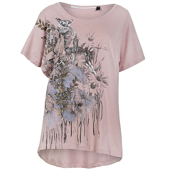 Ladies Long length T-Shirt Top Pink Blush Tee & Cake size 6 8 10 14 16