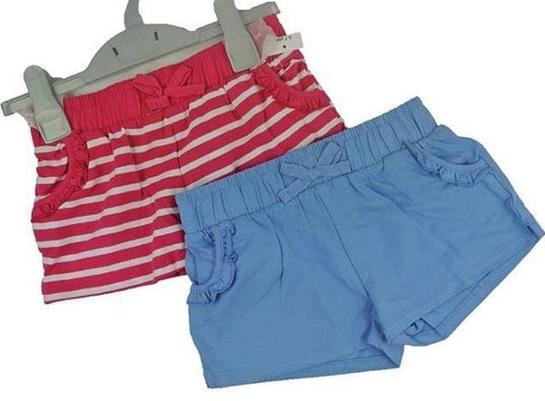 Girls 2 Pack of Shorts pink blue age 3 4 5 years holiday summer sport