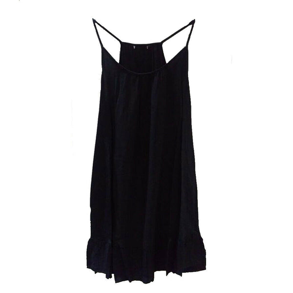 Ladies Black Dress Beach 100% Cotton Summer Sun 6-20 Holiday