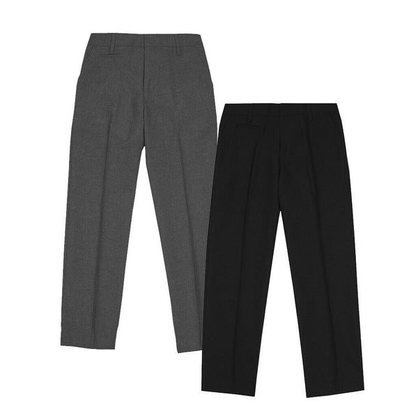 Boys Plus Fit Black Grey School Trousers Uniform age 4-16 Adjustable Waist £5