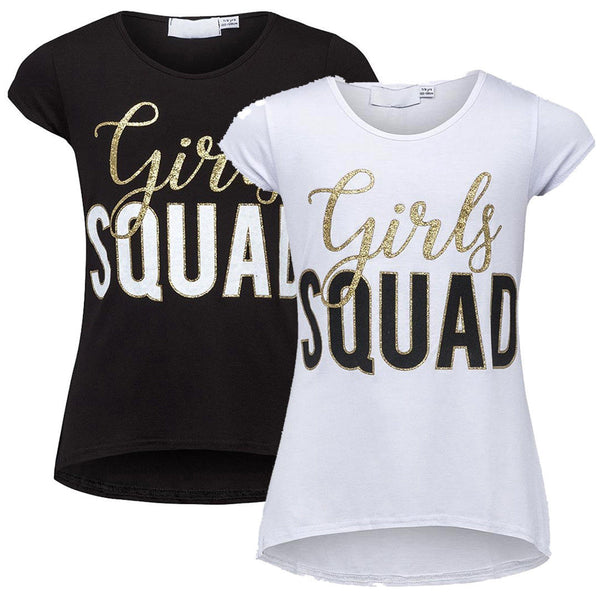 Girls Black or White Girl Squad T-Shirt Top age 5-12 years gold writing