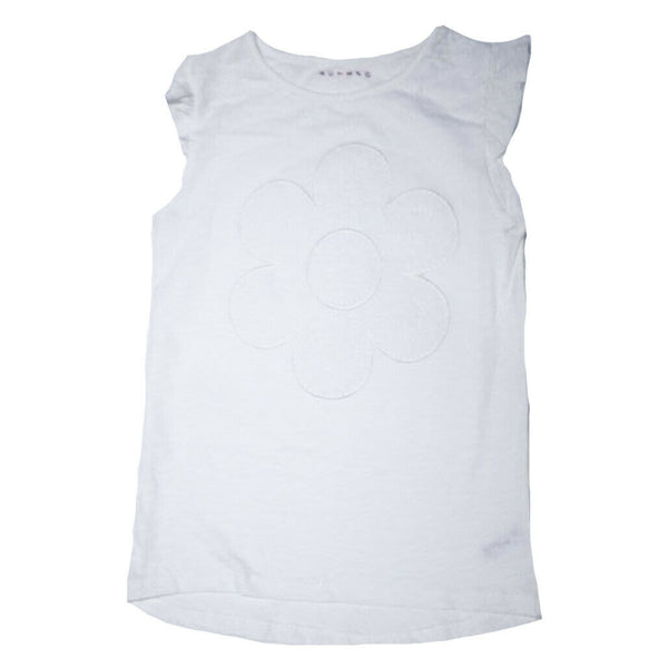 Girls White Flower T-Shirt age 8-9 years