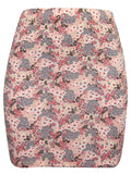 Ladies Grey Floral Jersey Mini Skirt Flowers 8 10 12 14 16 18 stretch bodycon