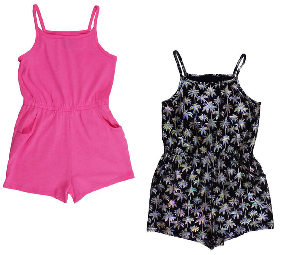 Girls 2 Pack of Dresses or Playsuits pink black age 5-8 yrs holiday summer