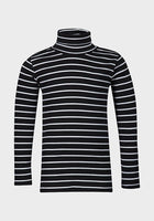 Girls Stripe Stripey Black Blue White Long Sleeve top roll neck 2-10 years