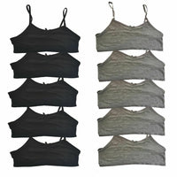 5 Pack Crop Tops Bra-lets Grey Black age 8-13 year