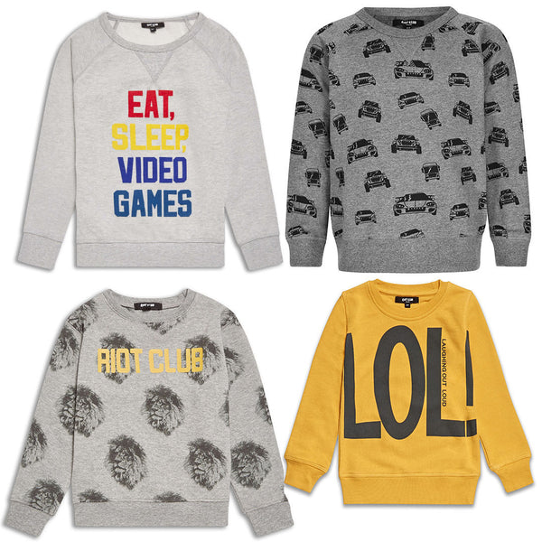 Boys Jumper Lions Cars LOL Video Games Grey Yellow Top ages 2-14 years