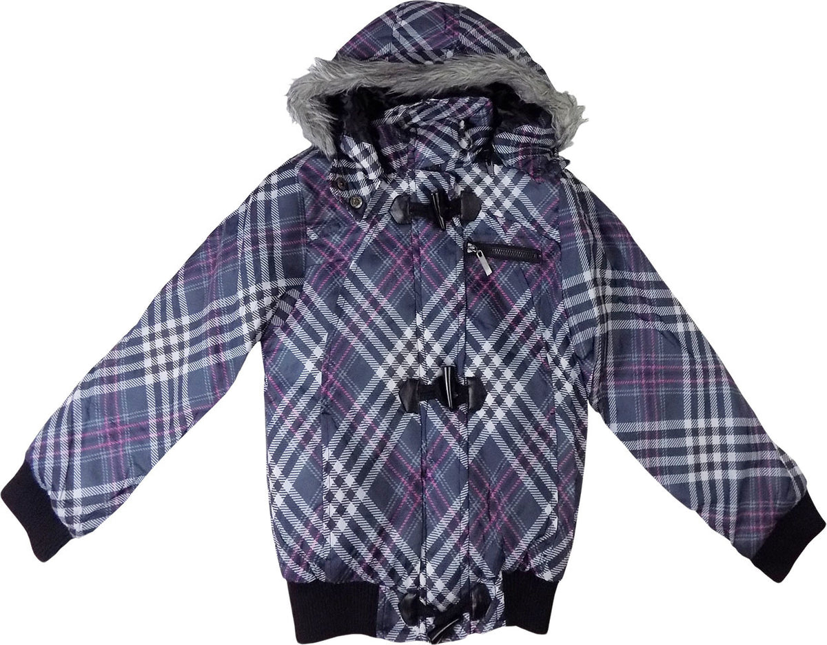 e4ce7c1c1bd8 Girls Purple Patterned Cropped padded Coat Jacket with Hood age 7-13 y –  supercoolgifts