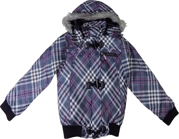 Girls Purple Patterned Cropped padded Coat Jacket with Hood age 7-13 years
