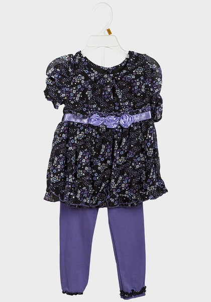 Baby Girl Purple Floral Tunic Top Dress & Leggings 18/24m 1/2 yrs 2 piece set