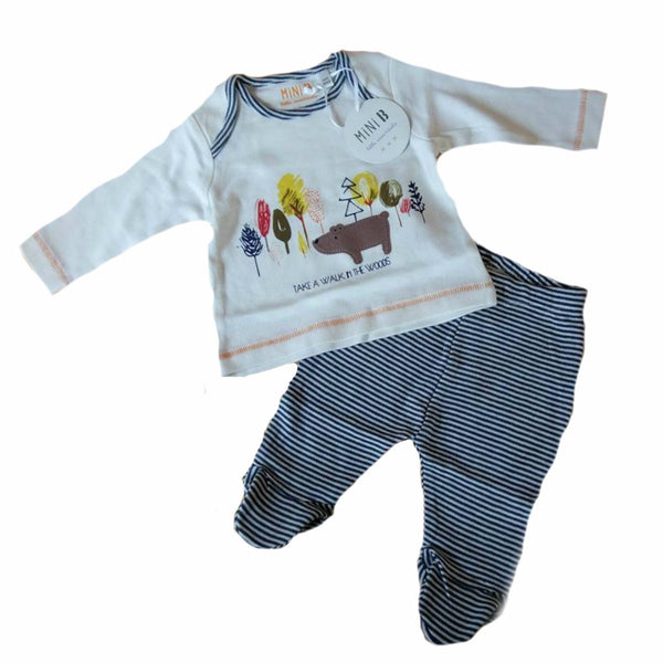 Baby Boy Top and Leggings Crawlers set NB 0/3 3/6 6/9 9/12 m Bear Woods Ex BHS - supercoolgifts
