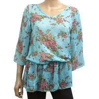 Ladies Floral Blue Sheer Kaftan Top Blouse M L XL size 8-14 holiday beach cover