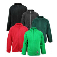 Boys Girls Fleece Zip Cardigan Coat Black Red Green Grey age 3-16 years school