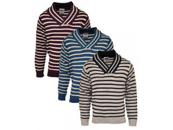 Boys Girls Striped Jumpers Grey Burgandy Teal Blue ages 2 4 6 8 10