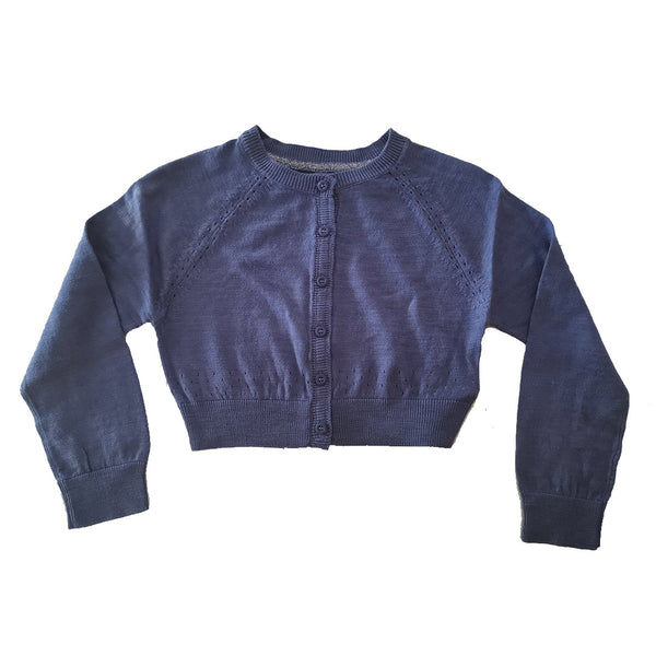 Blue Cropped lightweight 100% cotton Cardigan age 3-7