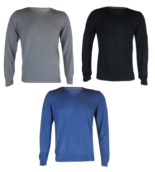 Mens V Neck Knitted Jumper Blue Black Grey S M L XL XXL - supercoolgifts