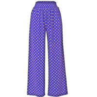 Ladies Palazzo Elasticated Waist Purple and Yellow Trousers XS S M L Wide Leg Loose