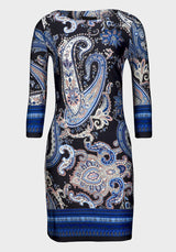 Ladies Blue Paisley Bodycon Style Fitted Stretch Dress Size 10 12 14 16 18 20