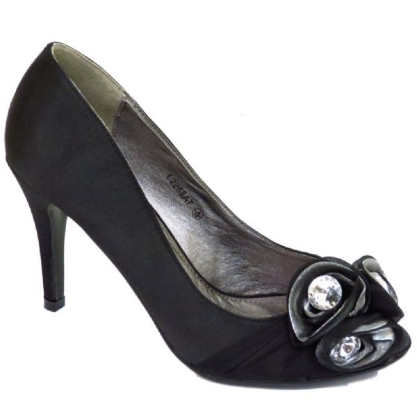 Ladies black satin high heel peep toe shoe with diamante detail cheap fashion discounted price