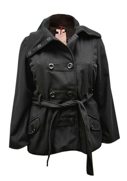 FREE P&P: Ladies belted black double breasted coat jacket size 16-26 wool blend