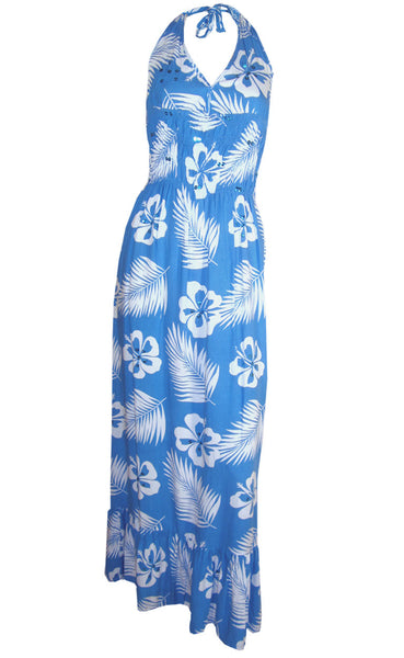 Ladies Blue White Floral Long Maxi Dress S M L 8 10 12 14 16 18 summer
