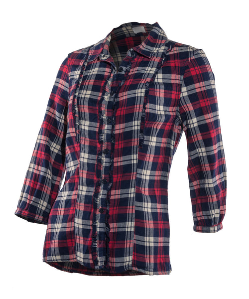 Ladies checked shirt red blue cotton 8 12