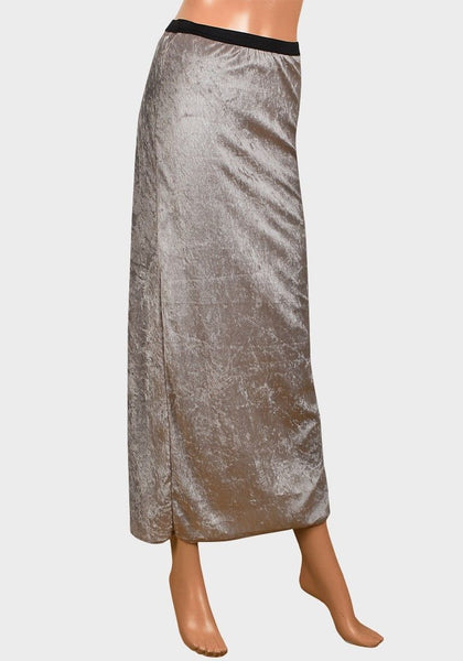 Ladies Crushed Velvet Maxi Full Length skirt champagne 8 10 12 14 16 18