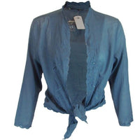 FREE P&P Ladies Open Tie Cropped Open Blouse Shirt Top Blue 100% cotton 10 12 - supercoolgifts