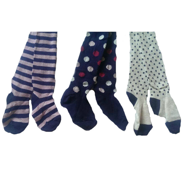 3 pack of supersoft Tights navy cream lilac stripes spots 1-6yrs - supercoolgifts