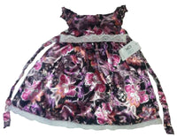 NEW Girls floral party dress age 1 2 3 4 5 yrs black pink