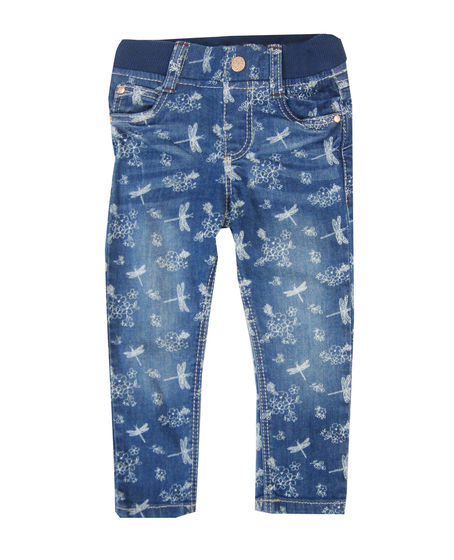 Girls Baby Blue Denim Jeans Elasticated waist 3-24 m 1-7 yrs patterned Pull On