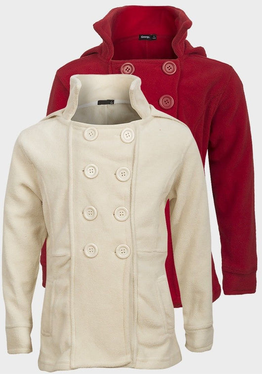 Girls Red or Cream Fleece Coat Jacket 3 4 5 6 7 8 double breasted fitted