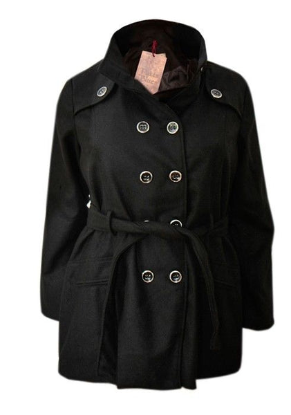 Ladies belted black double breasted coat jacket size 16-26 wool rich blend
