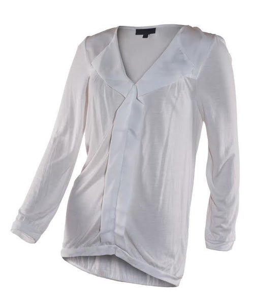 Ladies Cream or Pink Viscose Smart Top with Satin Trim  6 8 10 12 long sleeved