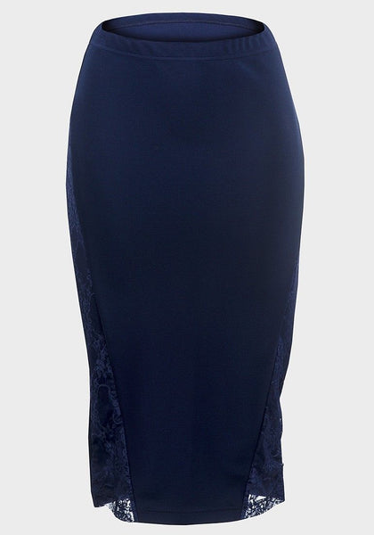 Ladies Pink Navy Blue Pencil skirt with Lace 6 8 10 12 14 16 18 20  wriggle - supercoolgifts