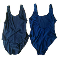 Ladies Plain Black Navy Blue Swimsuit swimming costume Holiday 10 12 14 16